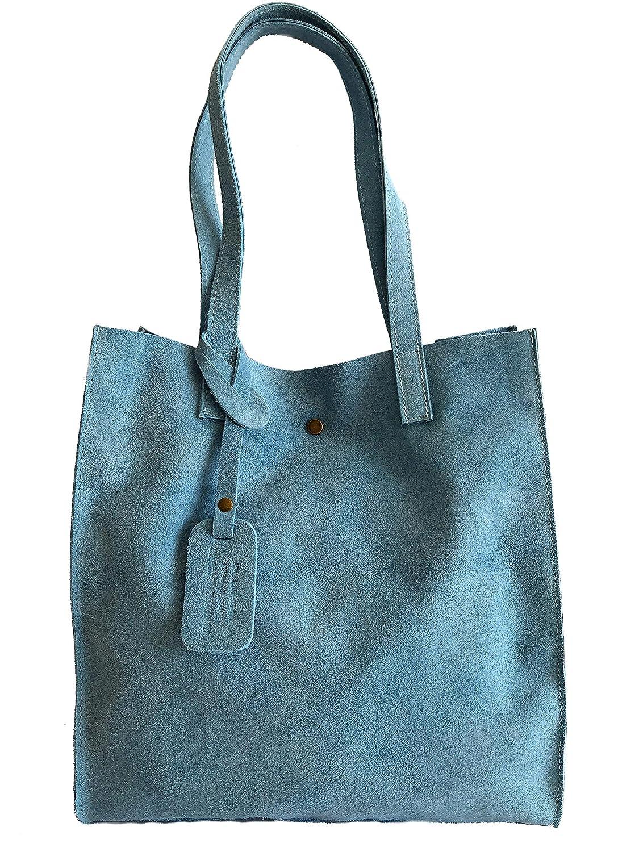 MASSIMA BARONI- Modelo LIA. Bolso de Mujer de Piel de Ante. Ideal Universidad, Instituto (azul): Amazon.es: Zapatos y complementos