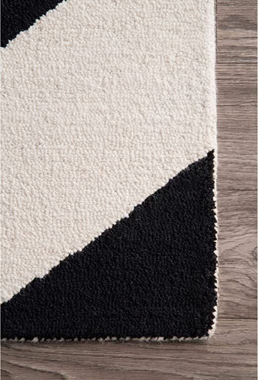 Amazon Com Nuloom Katte Hand Tufted Wool Area Rug 5 X 8 Black And White Home Kitchen
