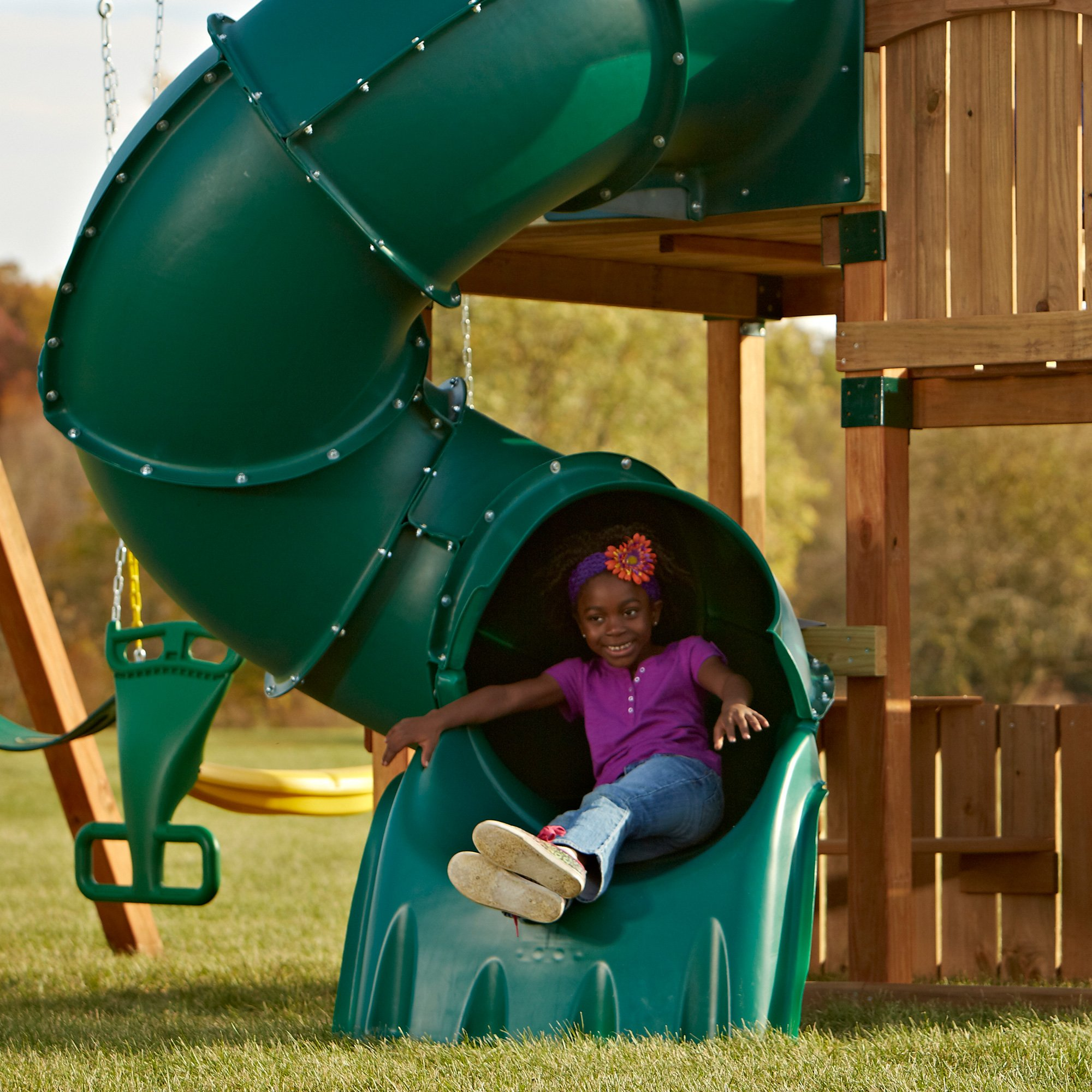 5 Ft Turbo Tube Slide Green by Swing-N-Slide (Image #3)