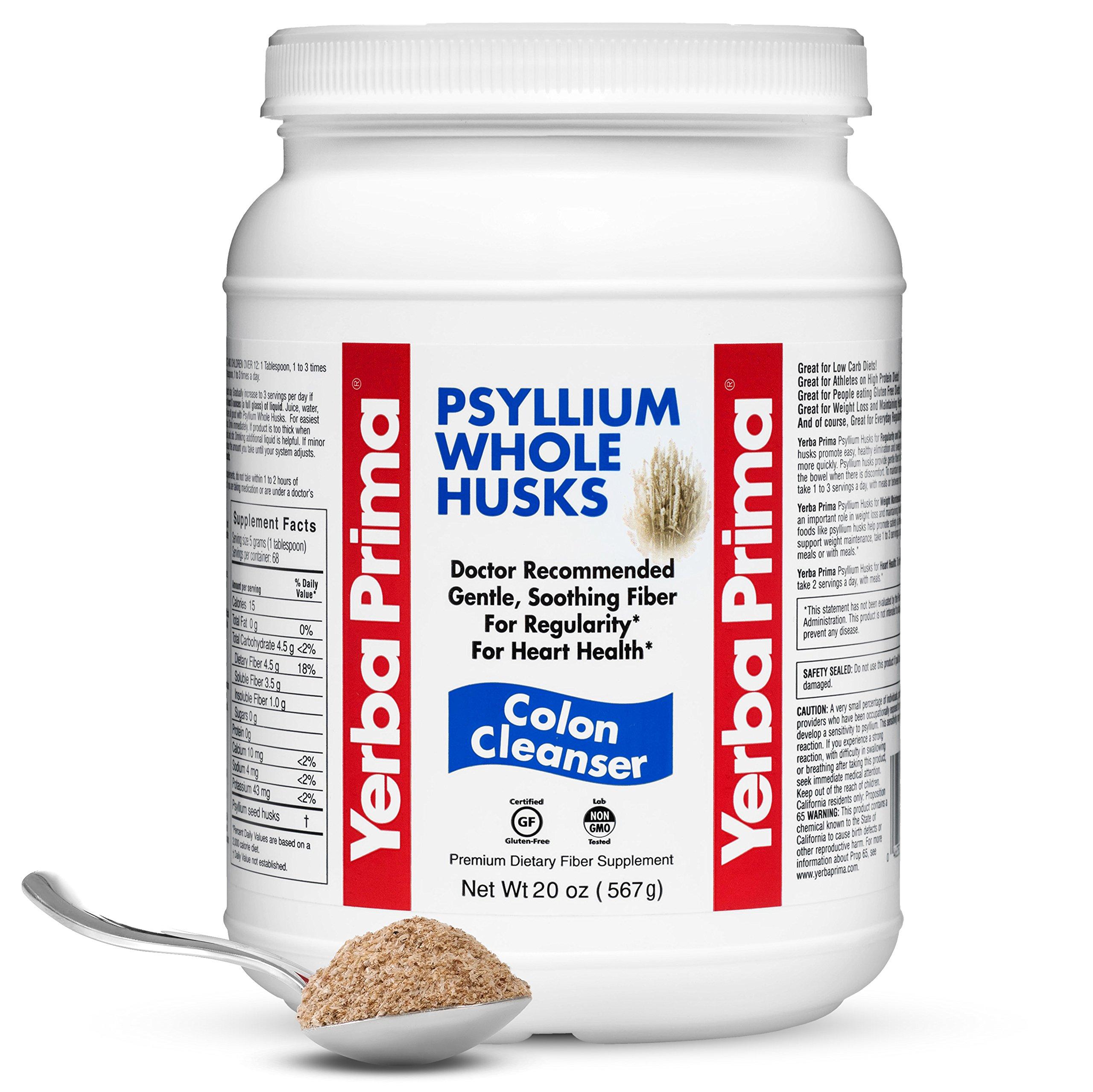 Yerba Prima Psyllium Whole Husks Colon Cleanser, All Natural, Dietary Fiber Supplement, 20 oz - (68 Servings) by Yerba Prima