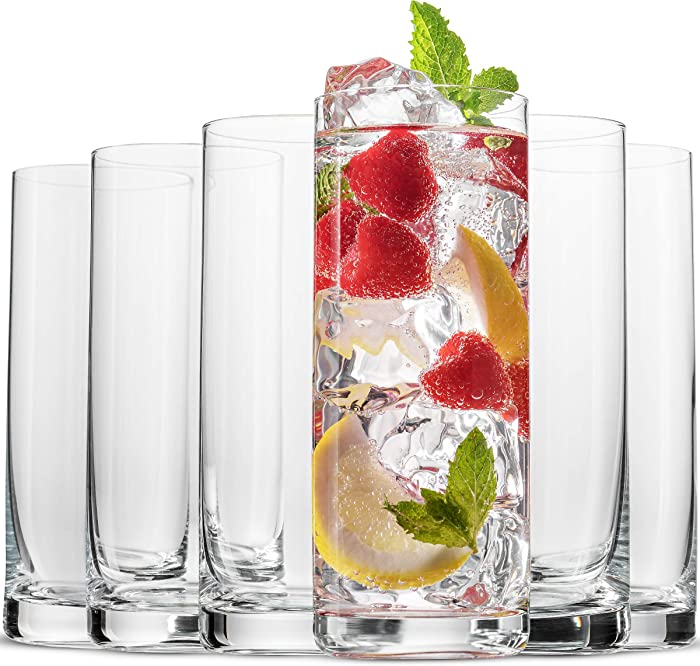 BENETI Exquisite Highball Drinking Glasses [Set of 6] Clear Water Glasses with Heavy Weighted Base, Tall Cocktail Glasses, Collins Glasses, Tumbler Glasses, Glass Cups for Juice, Barware (16oz Cups)