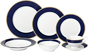 Lorren Home Trends - Midnight-28 28 Piece 'Midnight' Bone China Dinnerware Set (Service for 4 People), Blue