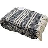 InfuseZen Turkish Throw Blanket Made from 100% Turkish Cotton, Large Lightweight Handwoven Sofa Throw, Partial Bed Cover or Loveseat Blanket (Black with Beige Stripes)