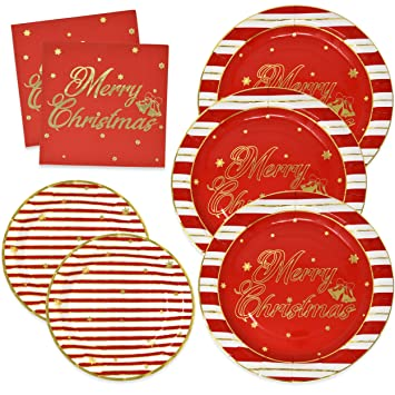 Christmas Paper Plates.Elegant Christmas Paper Plates And Napkins For 50 Guests In Gold Foil And Red Includes 50 9 Dinner