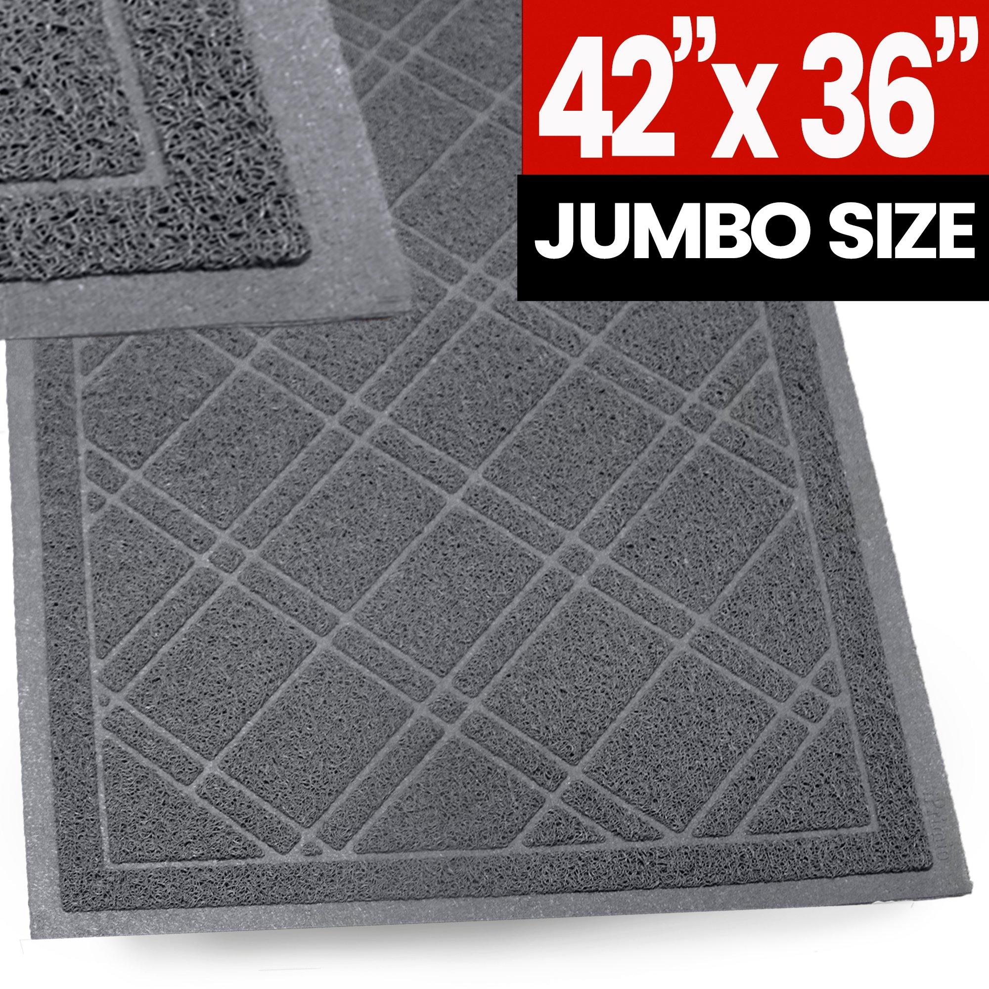SlipToGrip - (Gray) Universal Plaid Door Mat with DuraLoop - XL 42''x36'' Outdoor Indoor Entrance Doormat - Waterproof - Low Profile Door Mat - Welcome - Front Door, Garage, Patio - PHTHALATE & BPA FREE