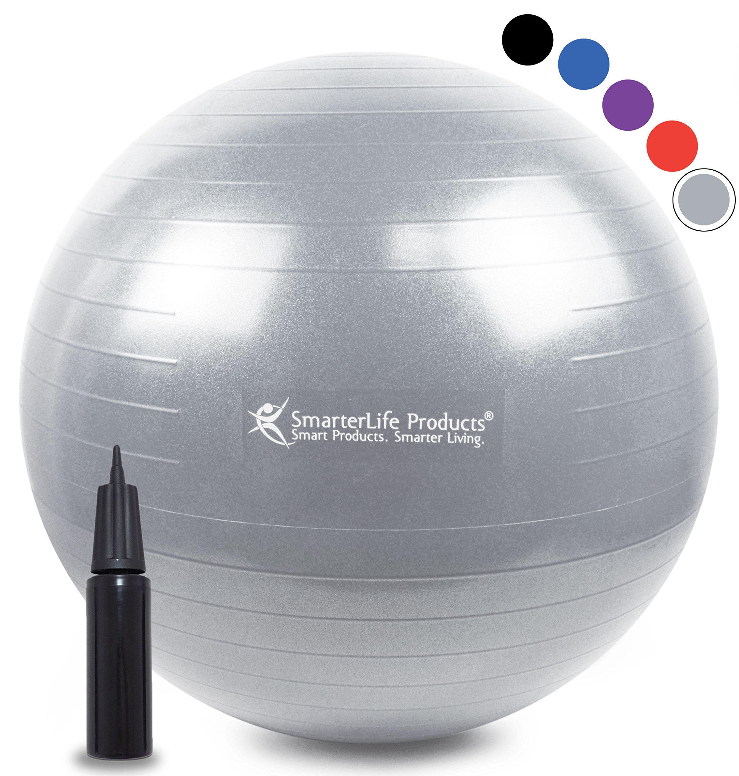 Exercise Ball for Yoga, Balance, Stability from SmarterLife - Fitness, Pilates, Birthing, Therapy, Office Ball Chair, Classroom Flexible Seating | Anti Burst, Non Slip | + Workout Guide (Silver, 65cm)
