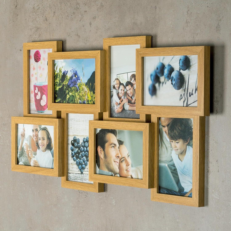 levandeo Bilderrahmen Collage B x H 28x28cm 4 Fotos 10x15 Eiche MDF Holz fertig montiert Glas