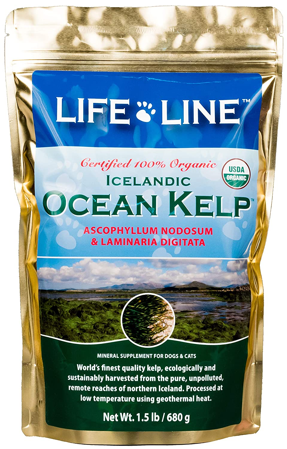 Life Line Organic Ocean Kelp Dog and Cat Supplement 1-1 2-Pound