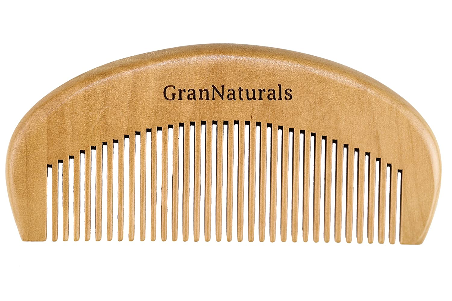 GranNaturals Wooden Comb Hair + Beard Detangler for Women and Men - Natural Anti Static Wood for Detangling and Styling Wet or Dry Curly, Thick, Wavy, or Straight Hair - Small Pocket Sized Gran Goods