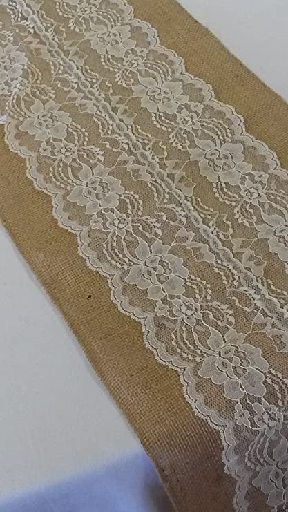 Burlap U0026 Lace Table Runner (Ivory Lace, 12x120 Inches)