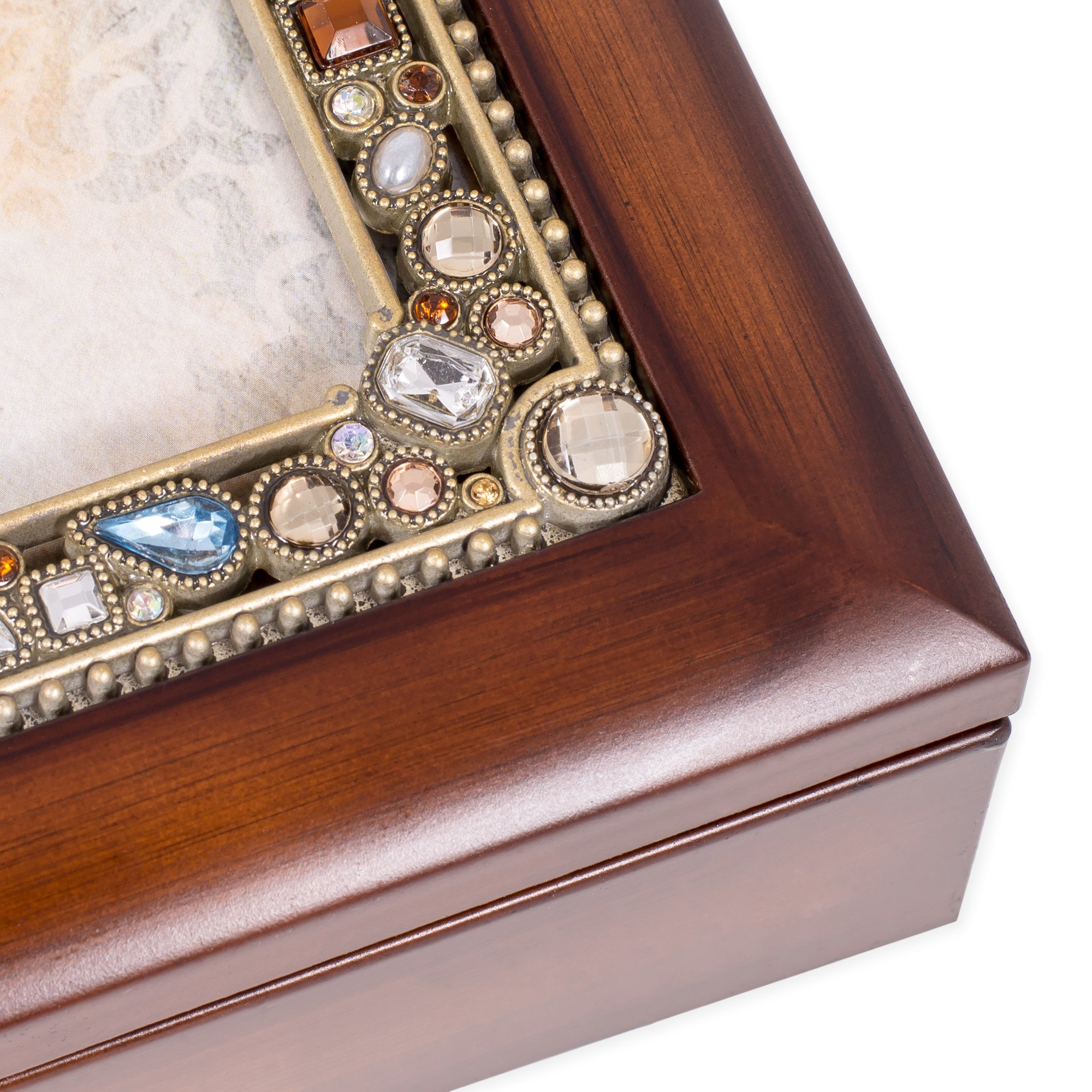 Friendship Life's Gifts Jewel Musical Music Jewelry Box with Dark Wood Finish Plays That's What Friends Are For by Cottage Garden (Image #3)