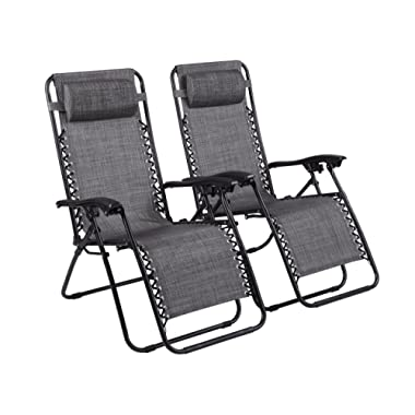 Naomi Home Zero Gravity Lounge Patio Outdoor Recliner Chairs Gray/Set of 2