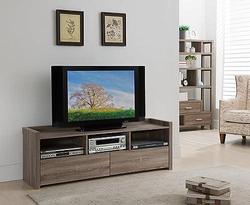 Furniture of America Brooks Contemporary 2-Drawer Storage Rectangular TV Stand with 3-Shelf, 60 , Light Oak