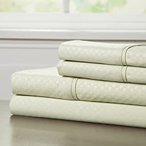 Bedford Home Embossed Sheet Set, Queen, Sage