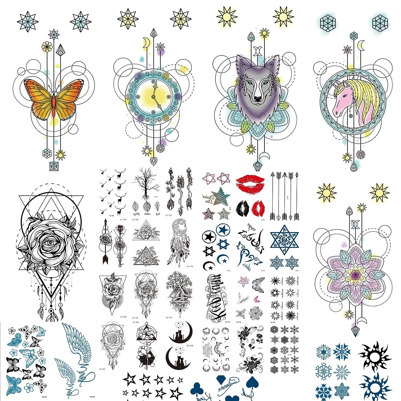 Fake Tattoos Temporary Tattoos Mandala Bohemian 6+30 Sheet Tattoo For Women,Men,Kids Temporary Tattoos For Adults Tattoo Paper (6+30 Sheets)