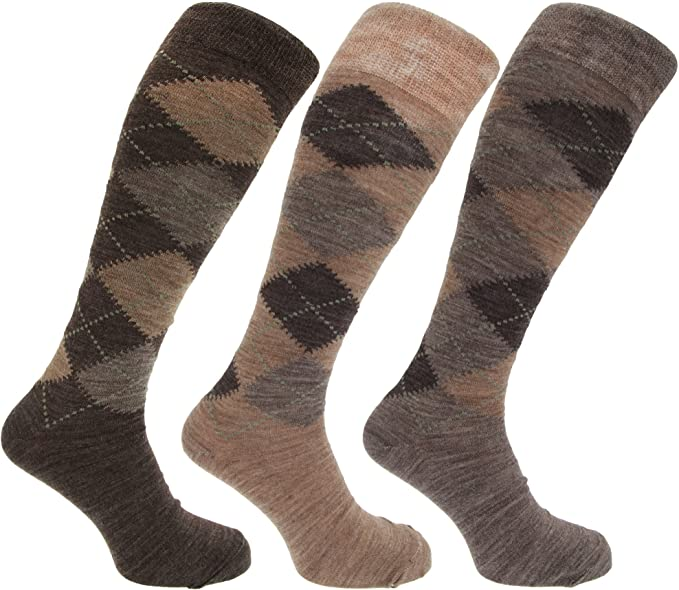 1920s Men's Fashion UK | Peaky Blinders Clothing 3x Pairs of Mens Long Length Lambswool Blend Argyle Design Socks/UK 6-11 Eur 39-45 £3.47 AT vintagedancer.com