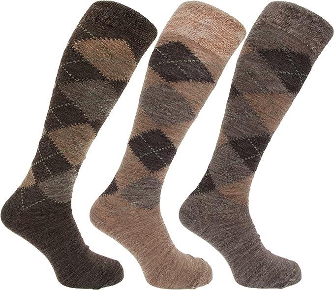 1920s Men's Underwear, Pajamas, Robes and Socks History 3x Pairs of Mens Long Length Lambswool Blend Argyle Design Socks/UK 6-11 Eur 39-45 £3.47 AT vintagedancer.com