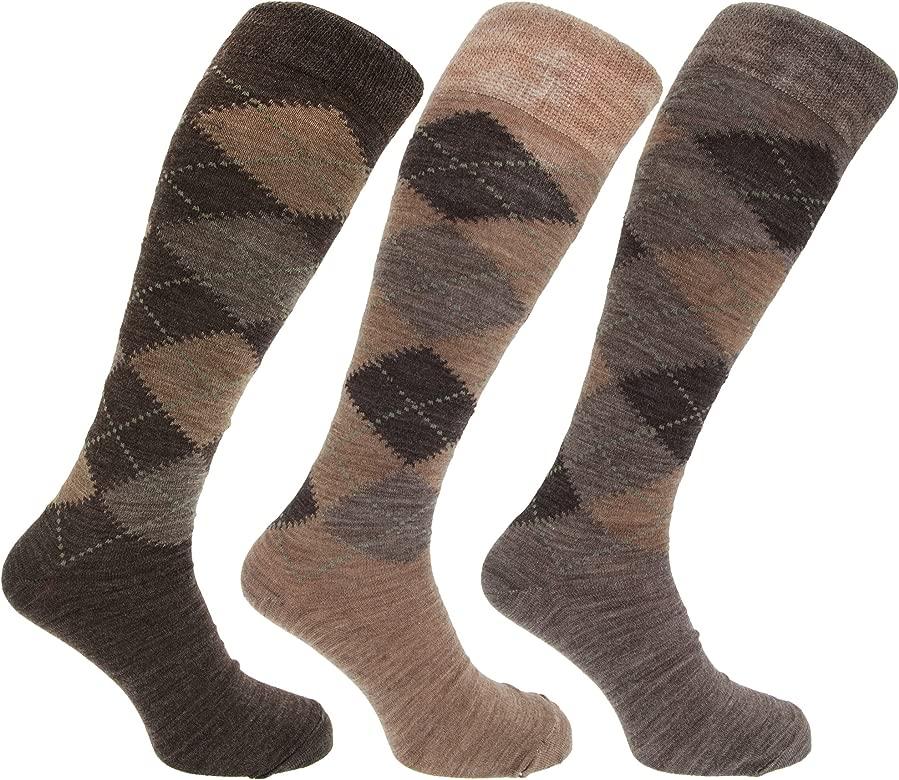 Sock Snob 3 pares hombre altos//largos termicos invierno finos calcetines lana con rombos