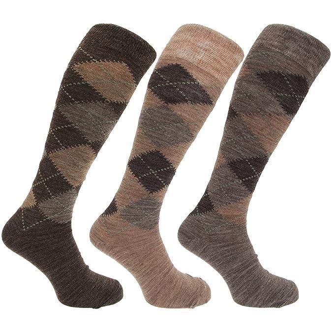3 pares hombre altos / largos termicos invierno finos calcetines lana con rombos YAMDbhn