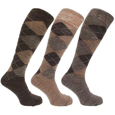 Calcetines altos con mezcla de lana con diseño de rombos para hombre(paquete de 3 pares), Assorted Brown Argyle, 39-45EU: Amazon.es: Ropa y accesorios