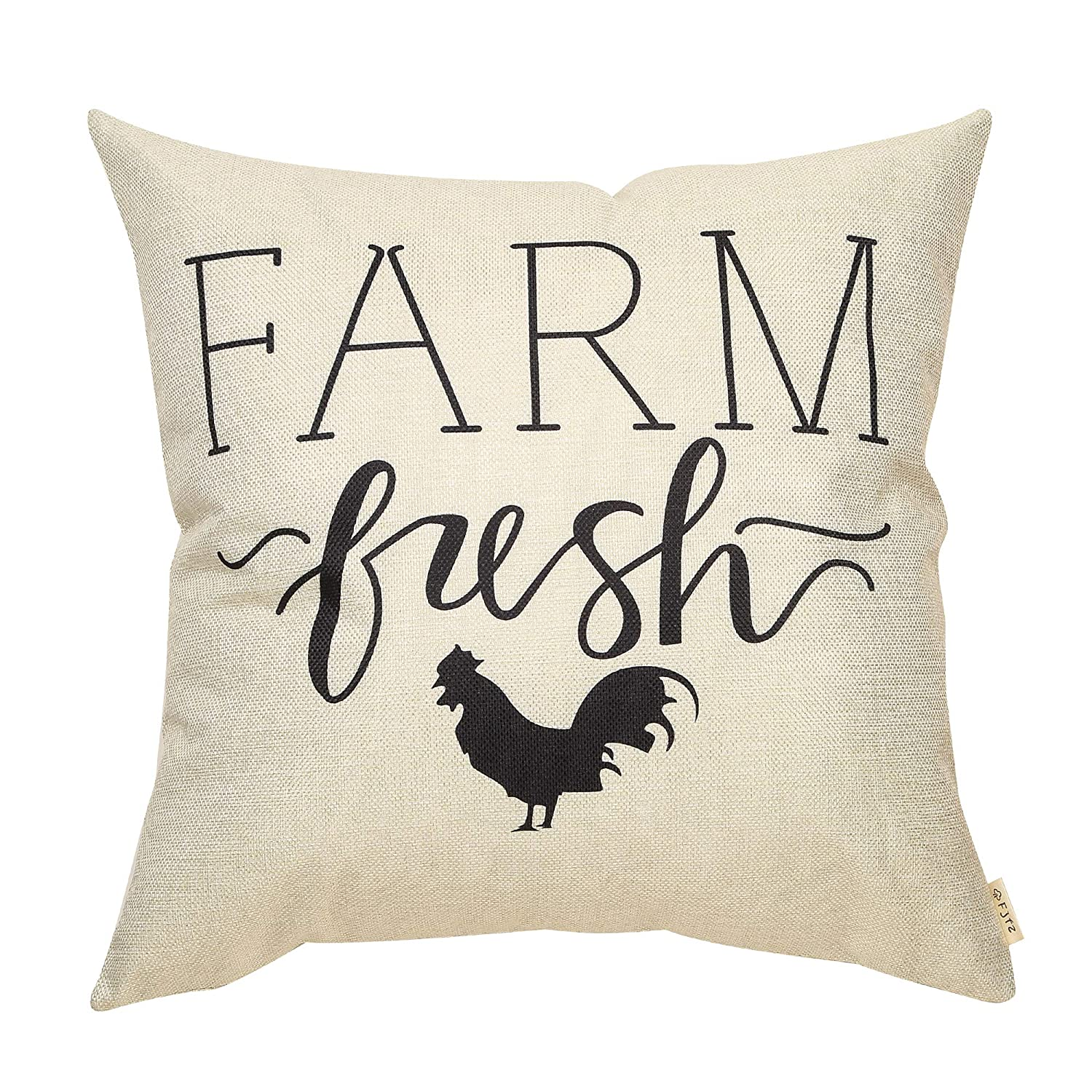 """Fjfz Rustic Farmhouse Decor Farm Fresh Hen Rooster Spring Summer Sign Country Decoration Gift Cotton Linen Home Decorative Throw Pillow Case Cushion Cover with Words for Sofa Couch, 18"""" x18"""""""