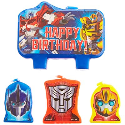 "amscan Mighty Transformers Birthday Party Molded Character Candle Decoration Set, Pack of 4, Blue, 3"" X 1"",: Toys & Games"