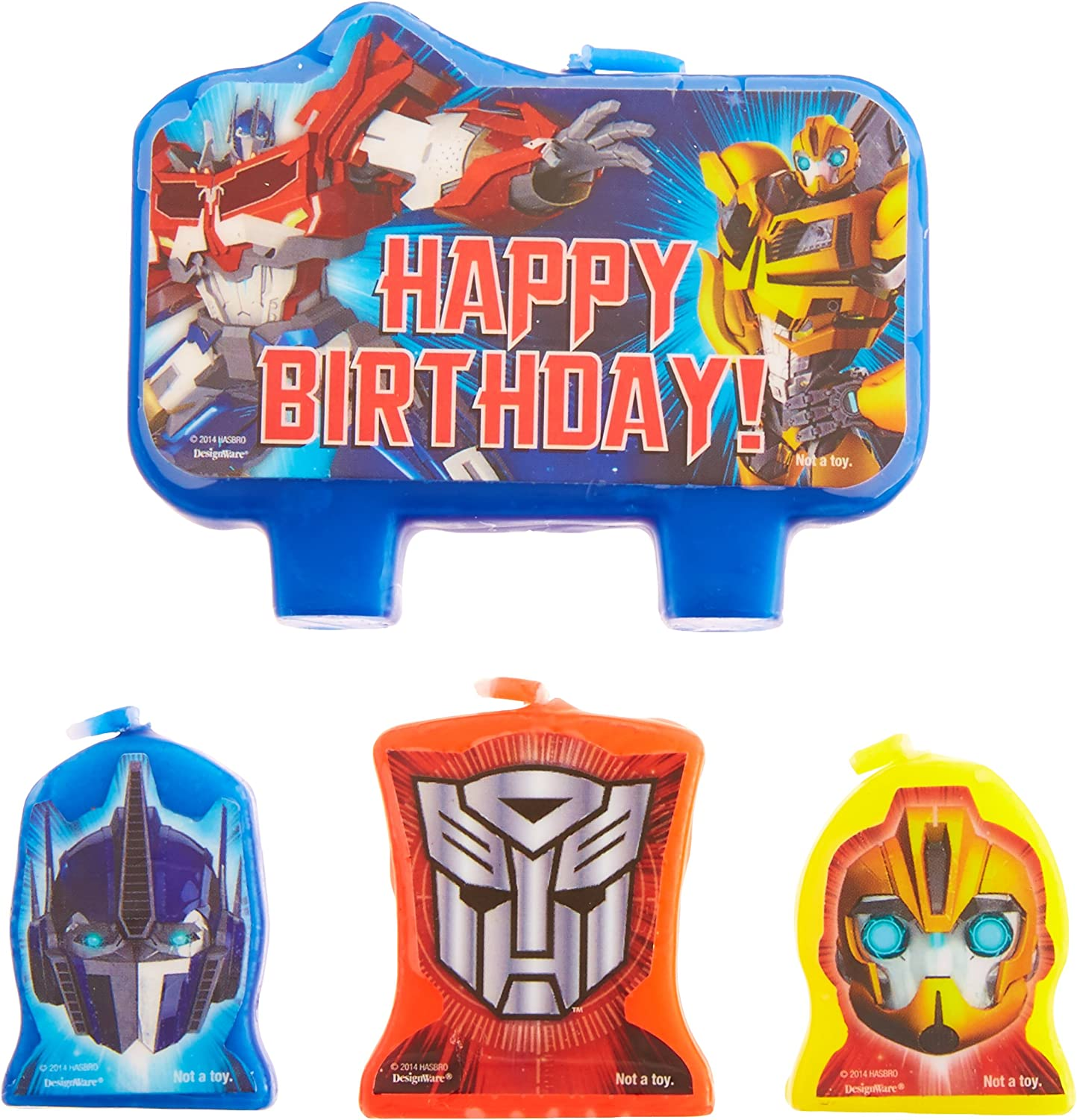 """amscan Mighty Transformers Birthday Party Molded Character Candle Decoration Set, Pack of 4, Blue, 3"""" X 1"""","""