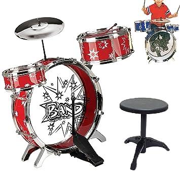 6Pcs Big Band Jazz Kids Drum Set Kit Childs Play Music Toy Mini Musical  Blue Red