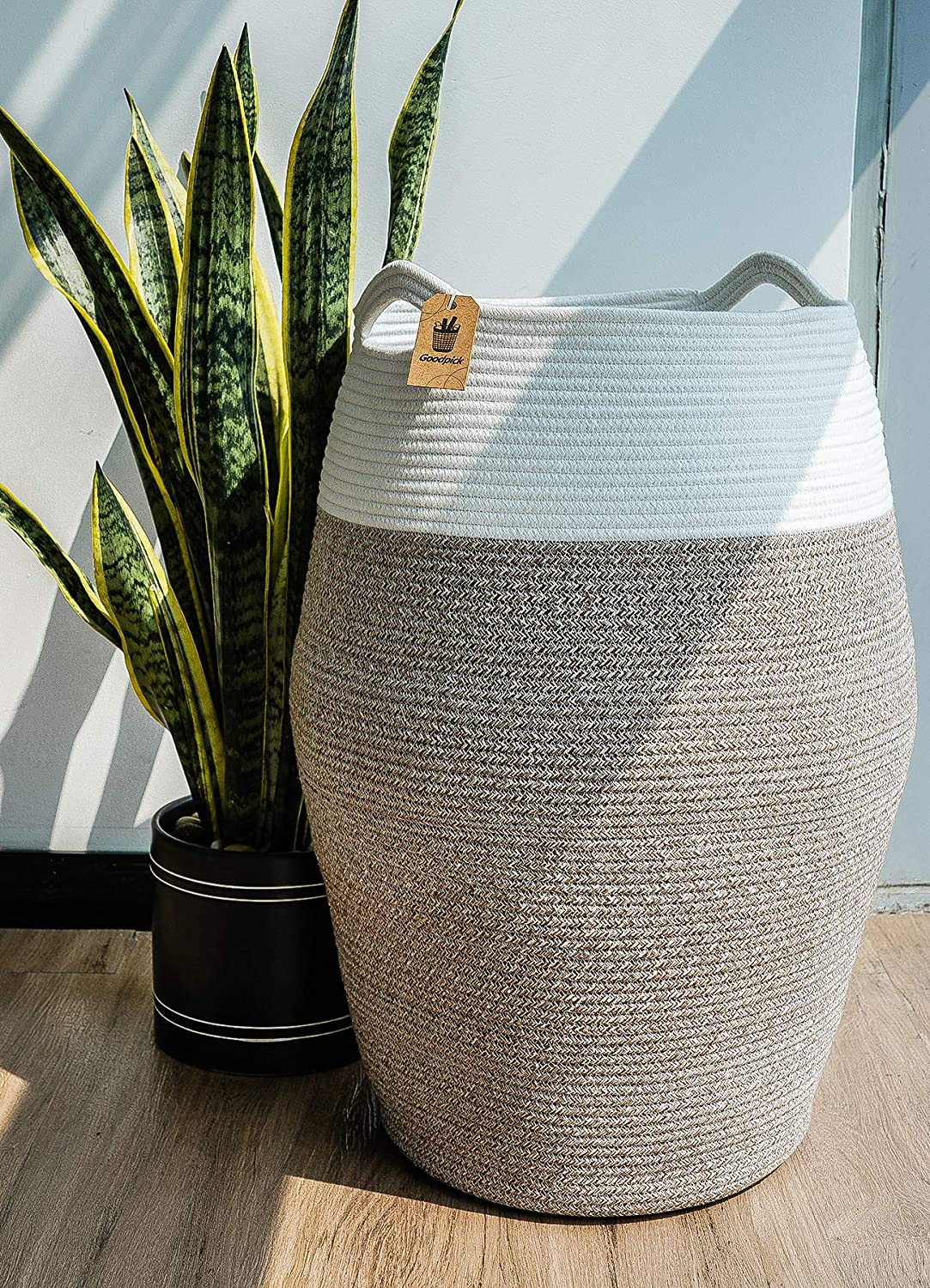 "Goodpick Large Laundry Hamper | Woven Cotton Rope Clothes Hamper Tall Laundry Basket, Modern Curve Bucket 25.6"" Height"