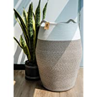 "Goodpick Large Laundry Hamper | Woven Cotton Rope Clothes Hamper Tall Laundry Basket, Modern Curver Bucket 25.6"" Height"