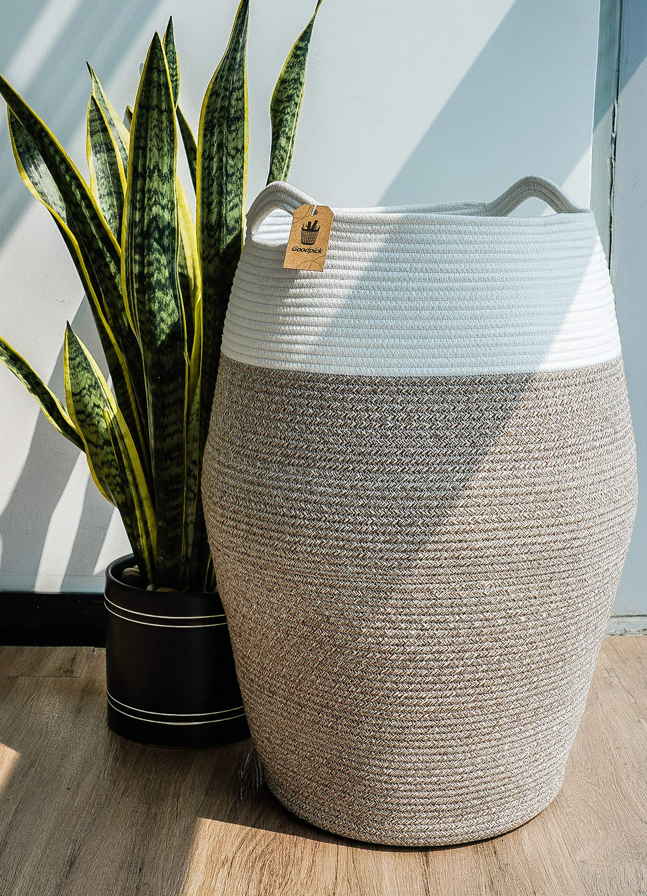 Goodpick Large Laundry Hamper | Woven Cotton Rope Clothes Hamper Tall Laundry Basket, Modern Curver Bucket 25.6'' Height by Goodpick