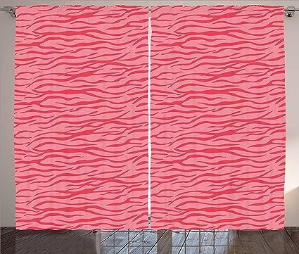Amazon.com: Ambesonne Pink Zebra Curtains, Wavy Zebra Stripes ...