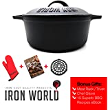 """Cast Iron Dutch Oven 10"""" 3.5Qt By Iron World 