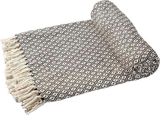 EHC – Algodón Suave Grande sofá Mantas Manta Doble Reversible Cama 150 x 200 cm, diseño de Silla, Color marrón: Amazon.es: Hogar