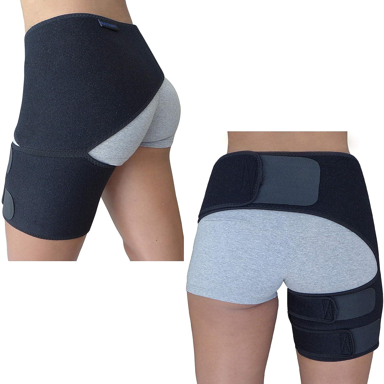 Hip Brace for Sciatica Pain Relief - Groin Thigh Hamstring Compression Sleeve Support Men Women SI Joint Hip Flexor Labral Tear Arthritis Bursitis Belt Sciatic Nerve Wrap Spica Stabilizer Pull Strain (Black): Industrial & Scientific