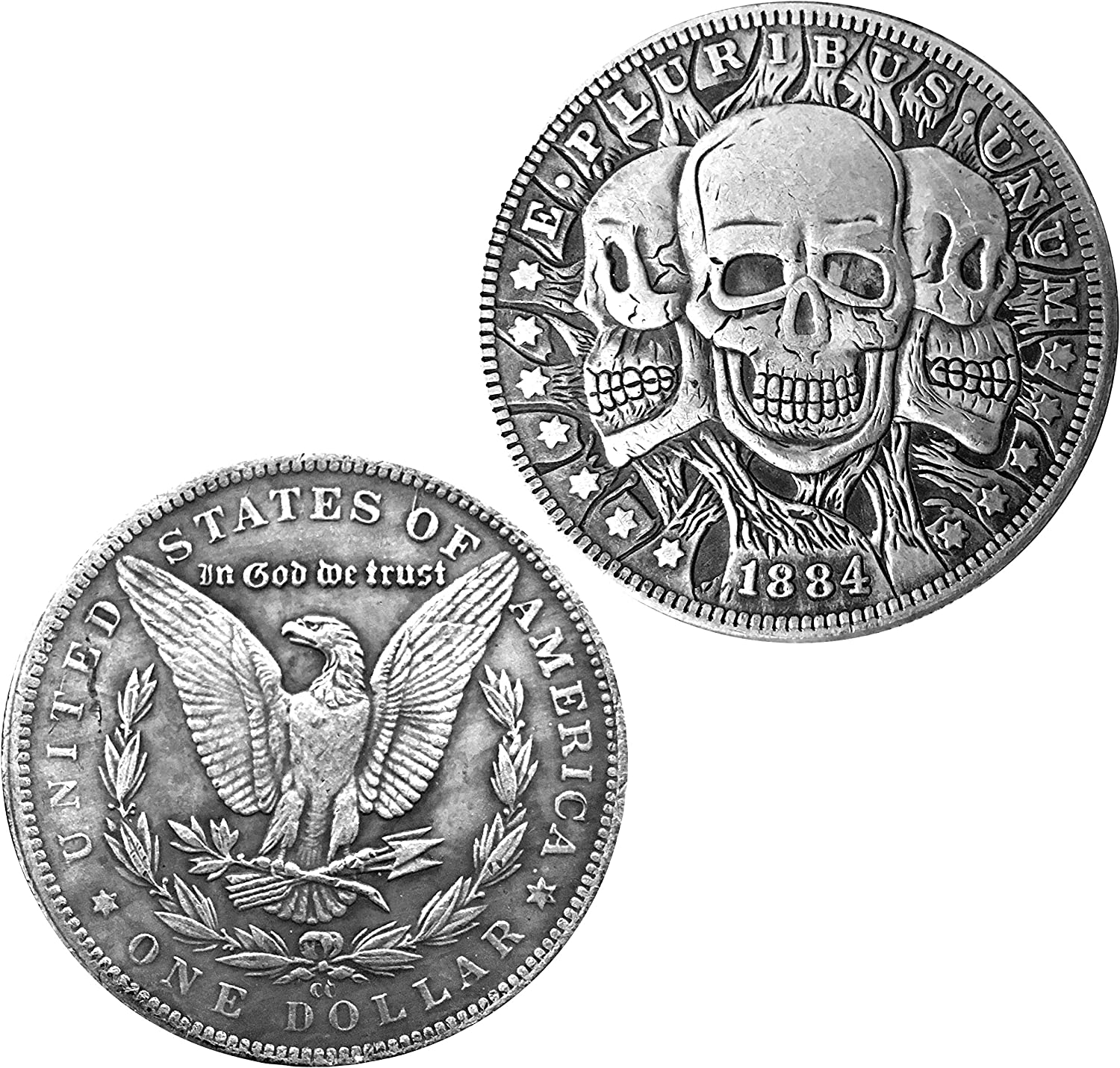 Three Faces of Death Novelty Heads Tails Good Luck Token Commemorative Coin