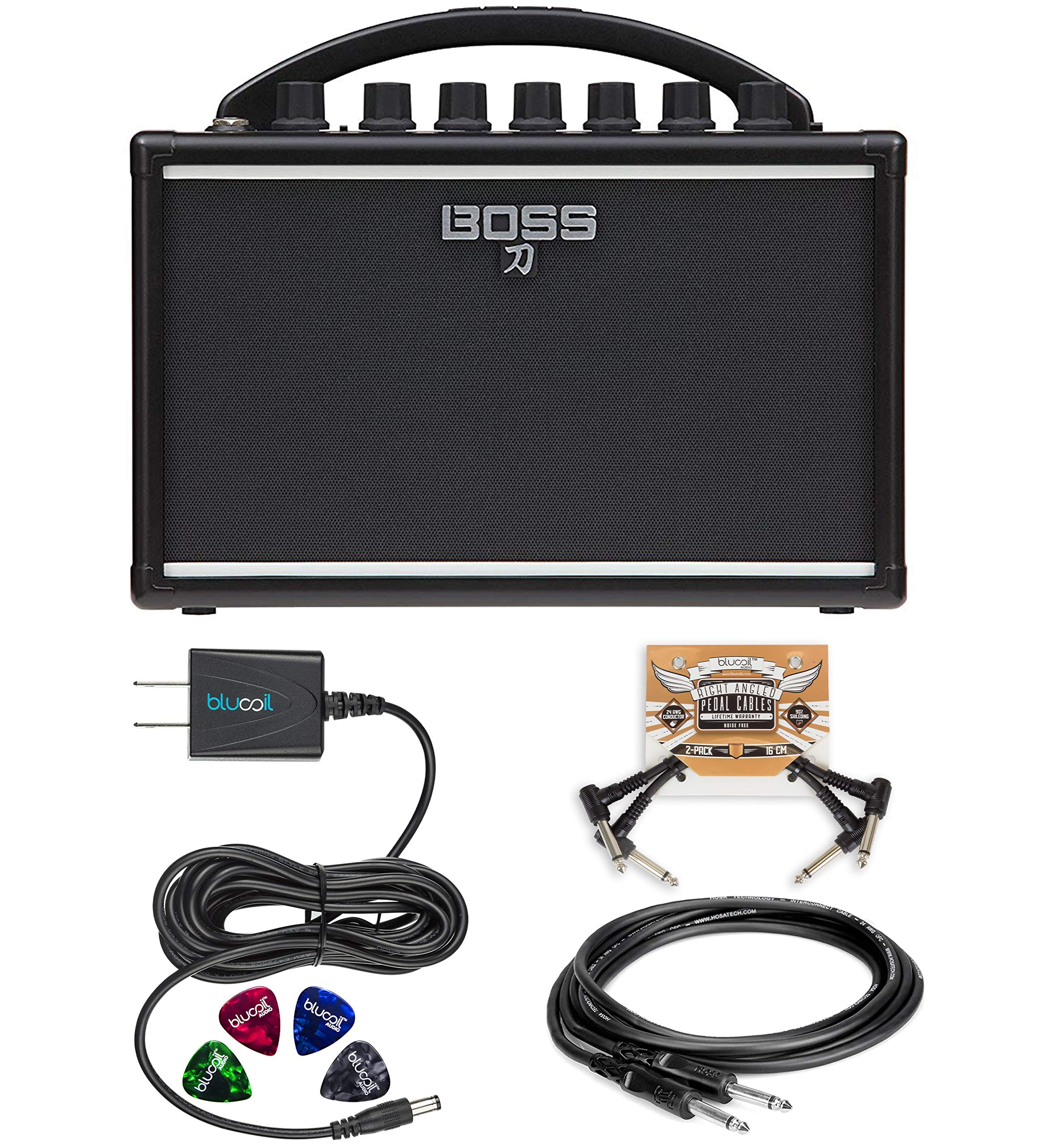 BOSS Katana Mini Guitar Amplifier Bundle with Hosa 5-FT Straight Instrument Cable (1/4in), Blucoil Slim 9V Power Supply AC Adapter, 2-Pack of Pedal Patch Cables and 4-Pack of Celluloid Guitar Picks by blucoil (Image #1)