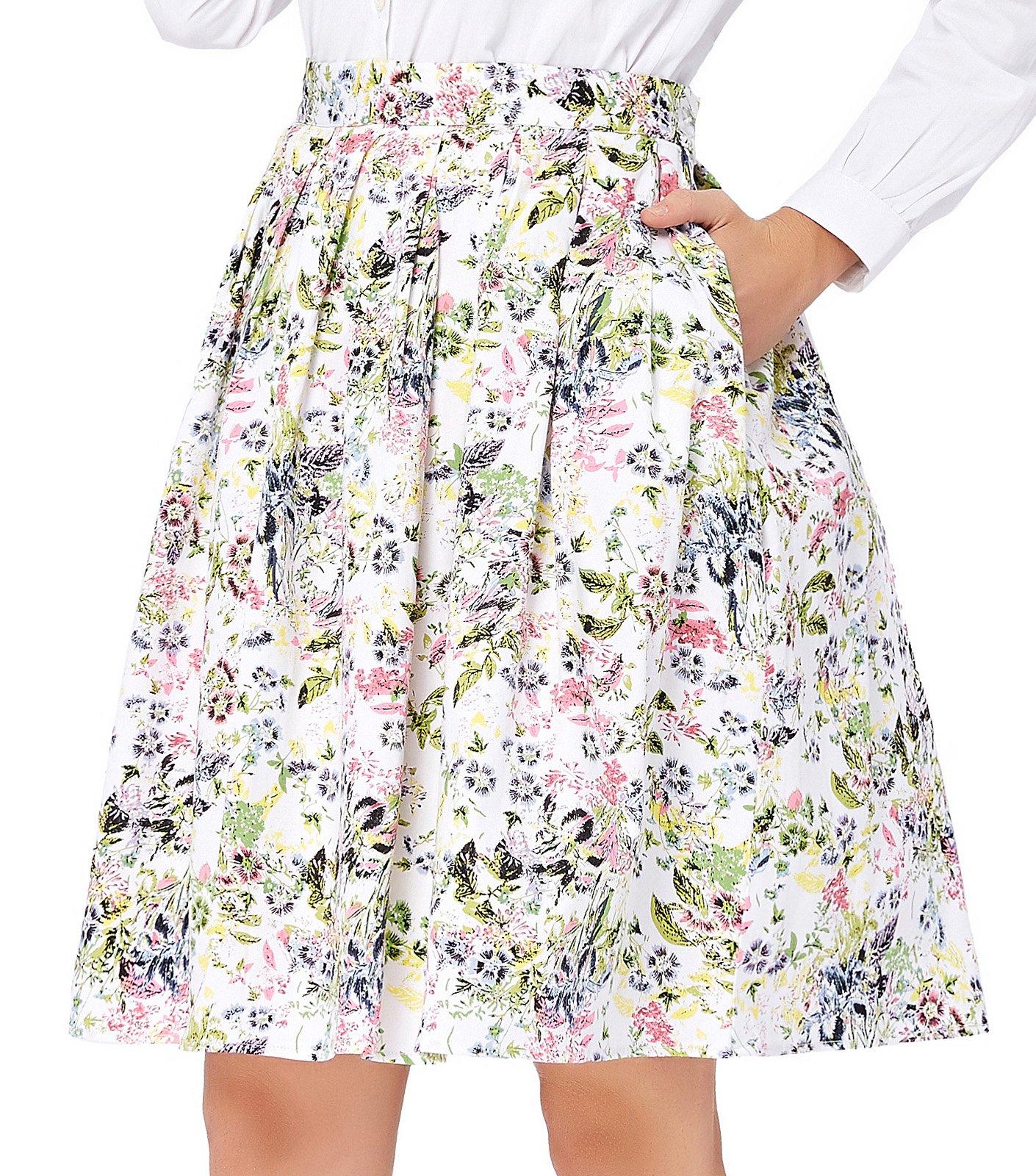 30b53f54f GRACE KARIN Women Retro Flared Skirts Classy Floral Printed Size L CL6294-18