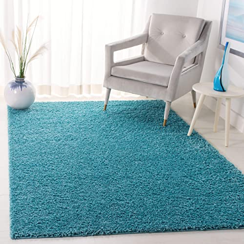 Safavieh Arizona Shag Collection ASG820T Southwestern Aqua Area Rug 4 x 6