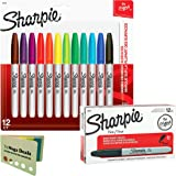 Sharpie Permanent Markers, Fine Point, Black, Box of 12 and Sharpie Permanent Markers, Fine Point, Assorted Colors, 12 Count, Includes 5 Color Flag Set