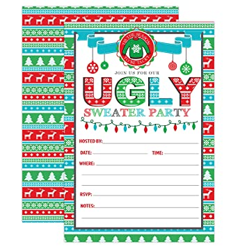 Amazon Com Ugly Sweater Christmas Party Invitations Christmas