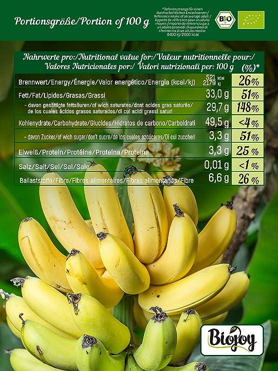 Chips de plátano BÍO | plátanos (68%) horneados en aceite de coco (32%) | cultivo biológico controlado | completamente no endulzado y sin azufre | calidad ...