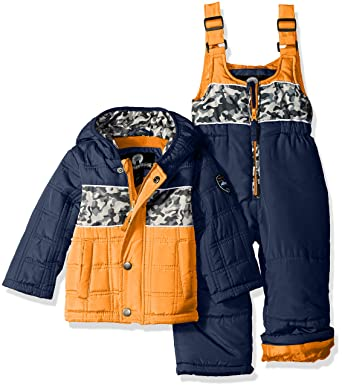 cdcee6841 Amazon.com  Weatherproof Baby Boys  Puffer Jacket and Matching Bib ...