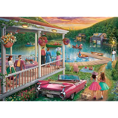 Ravensburger 16438 Summer at The Lake 300 Piece Large Pieces Jigsaw Puzzle for Adults - Every Piece is Unique, Softclick Technology Means Pieces Fit Together Perfectly: Toys & Games