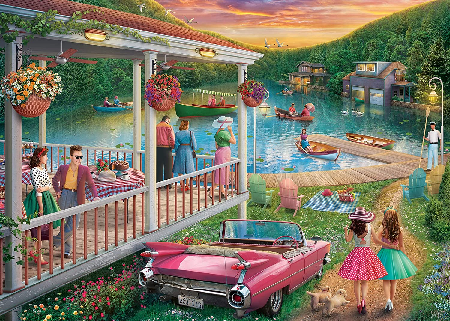 Ravensburger 16438 Summer at The Lake 300 Piece Large Pieces Jigsaw Puzzle for Adults - Every Piece is Unique, Softclick Technology Means Pieces Fit Together Perfectly