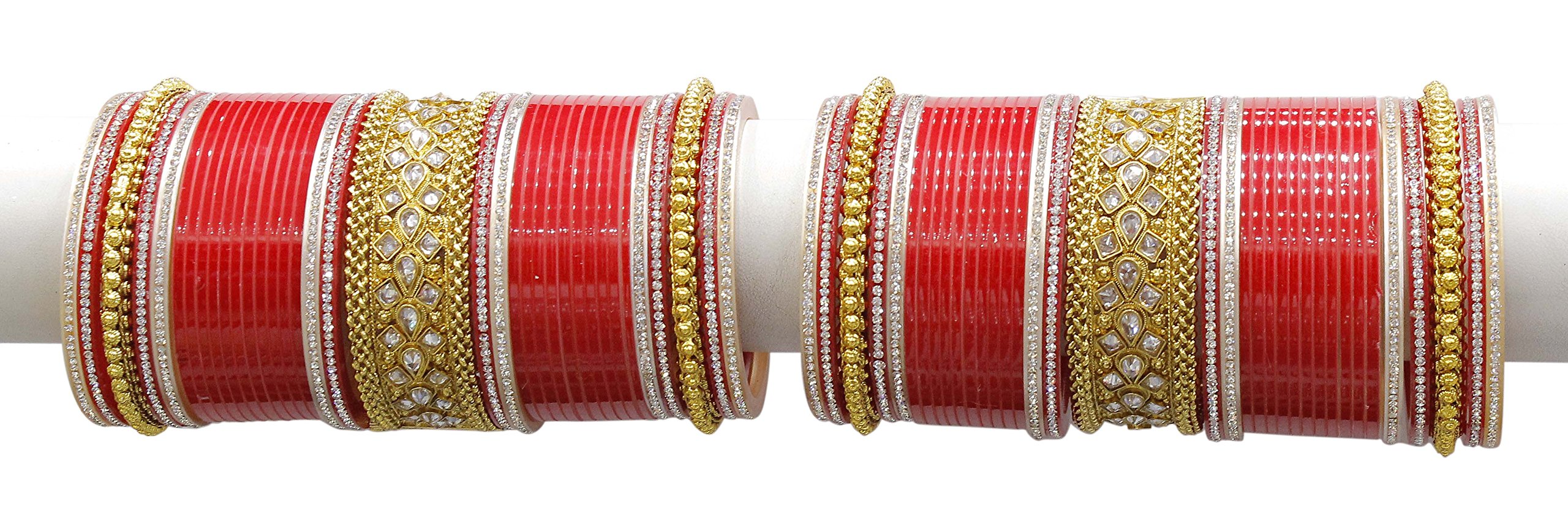 Ethnic Traditional Bollywood Fashion Indian Bridal Chura Red Colour Partywear Wedding Jewelry (2.6 Inches)