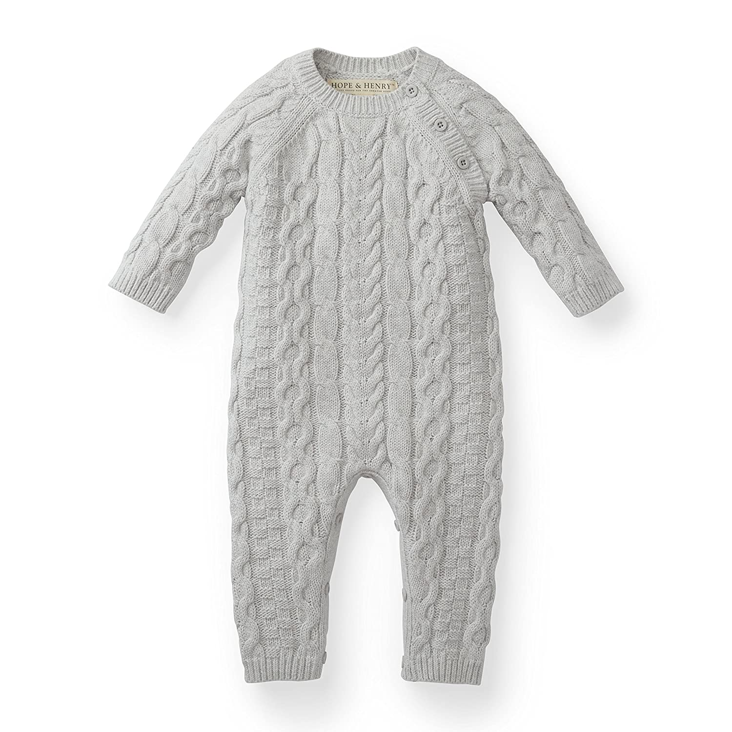 Hope /& Henry Layette Cable Knit Sweater Romper