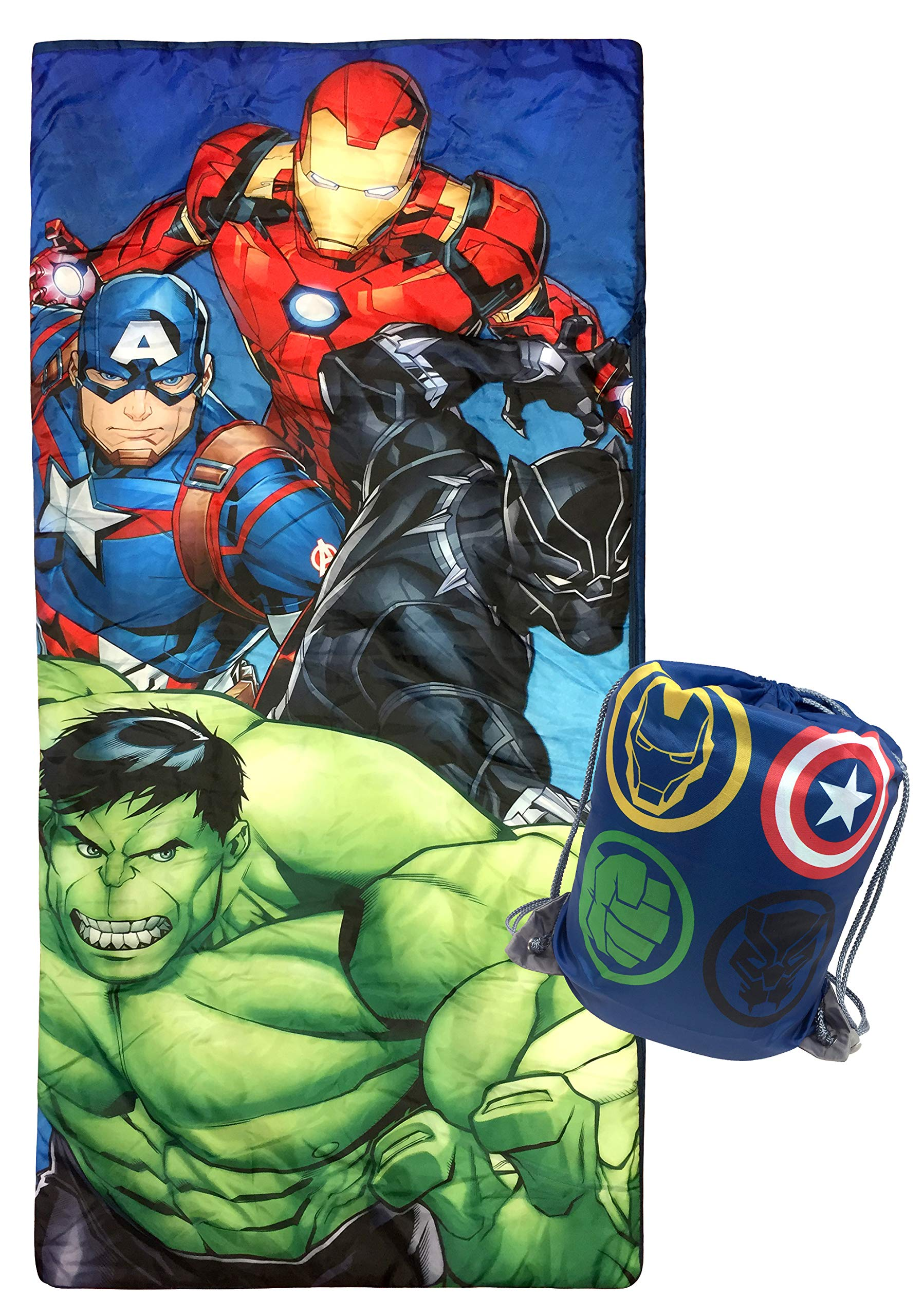 Jay Franco Marvel Avengers Battle Formation Slumber Sack - Cozy & Warm Kids Lightweight Slumber Bag/Sleeping Bag - Featuring Captain America, Iron Man, Black Panther, Hulk (Official Marvel Product) by Jay Franco