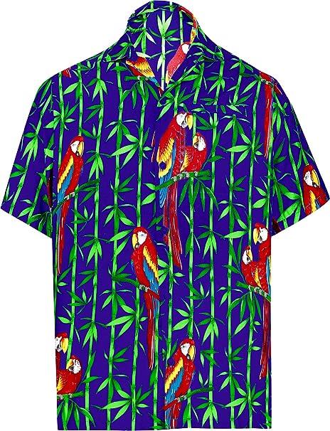 be0a8bac2 LA LEELA Likre Vacation Party Shirt Royal Blue 516 XL   Chest 48