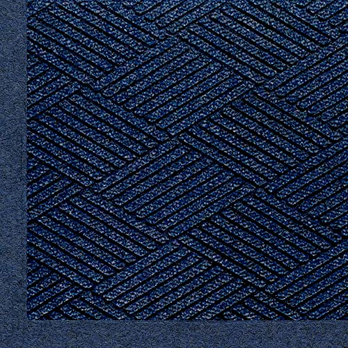 M A Matting 2297 Waterhog Eco Premier Fashion PET Polyester Fiber Indoor Outdoor Floor Mat, SBR Rubber Backing, 12.2 Length x 4 Width, 3 8 Thick, Indigo